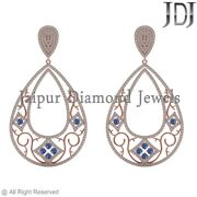 2.80cts Natural Pave Diamond Blue Sapphire 14k Rose Gold Dangle Earrings Jewelry