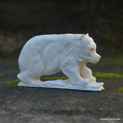 Bear Carved 90x55mm In Moose Antler Bali Carving St613 Table Decor