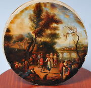 Antique 18th - 19th Century German Oil Painting On Canvas Dance Scene
