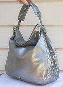 New 1650 Jimmy Choo Large Boho Metallic Leather Hobo Speckled Anthracite Silver