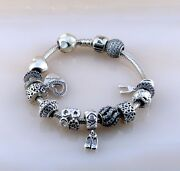 Pandora Ale Iconic Clasp Bracelet With 14 Charms Silver 925 Size 8