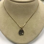 D104 Vintage 14k White Gold Nugget Yellow Gold Bail 16 14k Chain Necklace 2pc