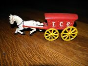 Vintage Cast Iron Horse And Wagon