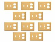 10 Switch Plate Brushed Brass Double Toggle/outlet   Renovator's Supply