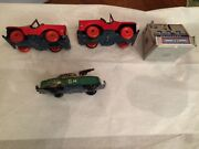 Texas Estate, Approx1940s Vtg Litho Tin Gman Toy Car 2 Red Jeeps Chein Bank