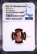 2019 W Proof Lincoln Penny Cent West Point Ngc Pf70 Rd Uc Fr Blue Label