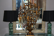 Beautiful Antique 8 Arm Brass And Crystal Toleware Candelabra Lamp _italy