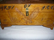 Hand Carved Box Of Eagles, Moose, Birds, Trees,acorns Ect.