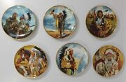 Franklin Mint Collectible Native American Men Chief Set Of 6 Plates
