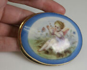 Late Victorian Hand Painted 14k Yellow Vintage Brooch Or Pendant 2 5/8 Across