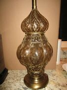 Mid Century Marbro Murano Italy Art Glass Lamps Caged Champage '63 Gold Venetian