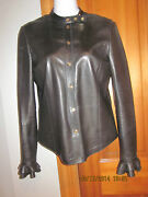 By Tom Ford Black Lambskin Fitted Leather Shirt Jacket Ruffled Hemsz 38