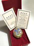 Halcyon Days Enamel Box Christmas 2000 Holy Night / Red Box And Certif / Mint Cond