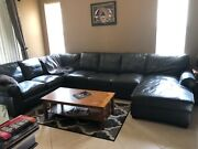 Used Leather Sectional Sofa Ashley Furniture Charcoal Gray