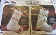 """Bucilla Angel And """"dove"""" Christmas Candlewicking Stocking Kits Lot Of 2"""
