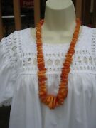 Collectible Beaded Natural Amber Yolk Butterscotch Huge Chunky Necklace 28 L