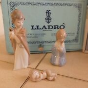 Lladro 5657 Holy Family 3 Piece Ornament Set Christmas Mint Condition Fastship