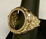 14k Yellow Gold 23.5 Mm Nugget Coin Ring For A 2 1/2 Dollar Gold Coin-mount Only