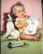 Vintage Print By Charlotte Becker Of Baby,terrier Puppy, Bottle And Song Book-