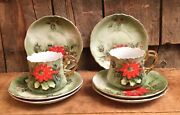 Vintage Limited Edition Lefton Hand Painted Holiday China Tea Cup Saucer Plates
