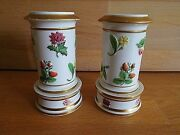 Pair Of Early 19th C Spode Spill Vases With Fruit And Flower Relief Decoration