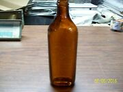 Vintage Amber Bottle Fisherman W/fish On The Face Screw Top 9h