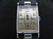 B054 Vintage 1940and039s Glycine Watch In Platinum With Diamond Markers