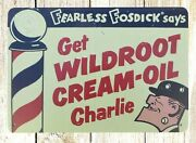 Decorative Objects Home Get Wildroot Cream-oil Charlie Tin Metal Sign