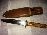 Joseph Allen And Sons Sheffield England Non Xll Bowie Knife Stag Handle Vintage