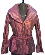 Cache Berry Sheen Metallic Jacket + Belt New Sz Xs/s/m/l Puffer Filled Down 238