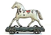 Vintage George Brown 1880's Tin Horse On Platform Pull Toy All Original Paint