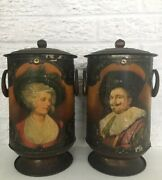 """Pair Vintage Antique Canisters Urns Vases W/ Cavalier And Lady Portraits H 11"""""""