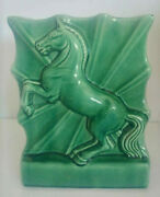 Vintage Mcm Green Ceramic Rearing Horse Tv Lamp Light Deco Style Very Nice Works