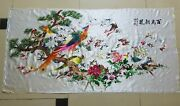 Antique Chinese Birds Hand Embroidery Wall Hanging Panel 149x74cm Y142