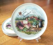4 Ceramica Cuore Cheeze Grapes Large Dinner Plates Italy Country Side Scene Nwt