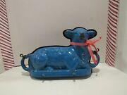 Antique Cast Iron Enamel Blue Lamb Cake Mold From Germany Easter Primitive