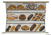 Vintage Poster Print Rollable Wall Chart Bakery Baked Goods Inscribable