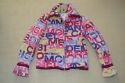 Identification Multicolour Letters Quilted Zip Through Jacket Coat Uk 6