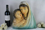 Rare Antique Belgian Bust Madonna Mary Jesus Child Religious Plaster Marked