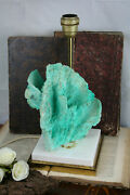 Mid-century 1960 Table Lamp France Stone Turquoise Blue Mineral Retro Rare Piece