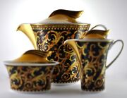 Versace By Rosenthal Barocco Teapot Creamer And Sugar Bowl Set