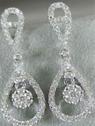 Modern Pave Diamond 18k White Gold Pave Pear Halo Cluster Dangle Earrings 100702
