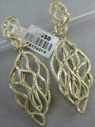 Modern Pave Diamond 14kt Y Gold Long Open Puff Nugget Dangle Earrings E51740yp