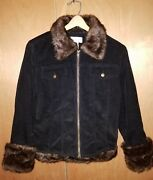 Newport News Dk Brown Corduroy Lined Jacket Size 14 Faux Fur Collar And Cuff Nice