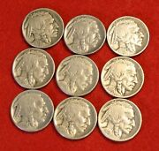 1920-29 P Buffalo Nickels 9 Coins One Of Each Year Full Date Check Store Bn553