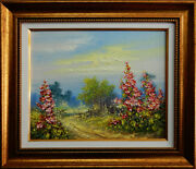 Landscape With Summer Flowers, Original Oil Painting On Canvas,knife Paintings