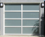 Full View [9and039 X 8and039] Anodized Aluminum And White Laminate Glass Garage Door