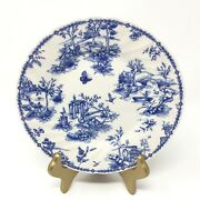 Churchill Vintage Print - Prague Toile Plate - Bird Butterfly Cow - Blue And White