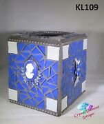 Blue Glass Tissue Box Cover Handmade Mosaic Cover For Your Home Kl109