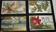 A Set Of 4 Antique 100+yrs Christmas Postcards. Postmarked